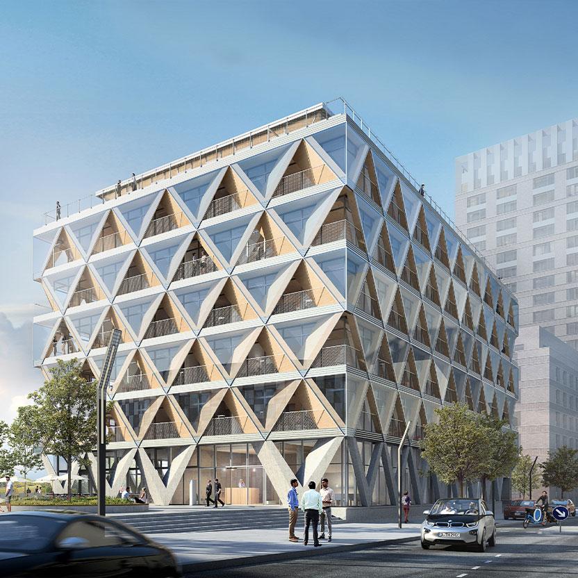 Düsseldorfs erstes Bürogebäude in Holzhybridbauweise
